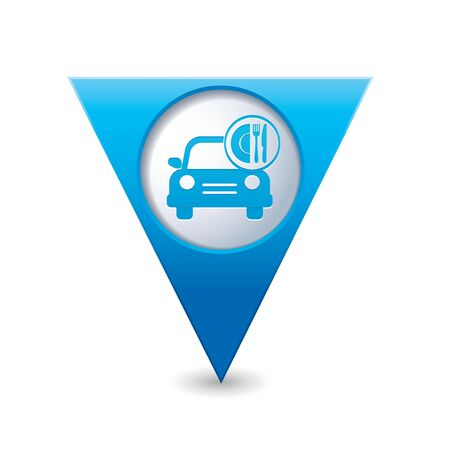 Car with meal icon on blue triangular map pointer  Vector illustration Vector