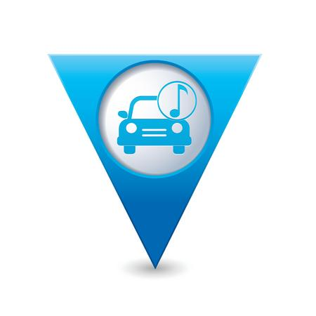 Car service  Car with music icon on blue triangular map pointer  Vector illustration