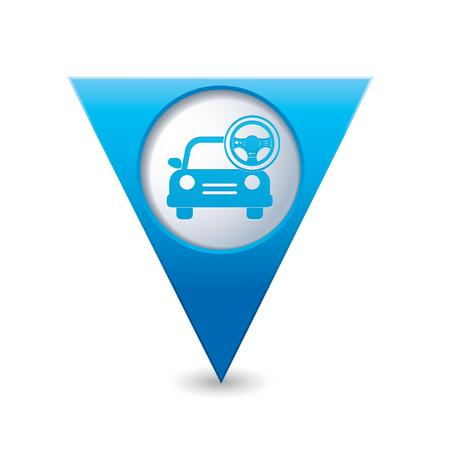 Car service  Car with steering wheel icon on blue triangular map pointer  Vector illustration Vector