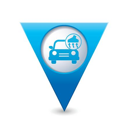 Car service  Car with vacuum cleaner icon on blue triangular map pointer  Vector illustration Vector