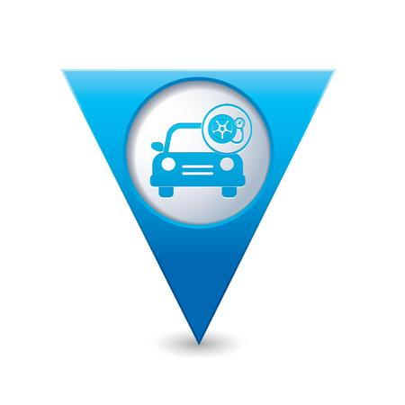 Car service  Car with wheel and pump icon on blue triangular map pointer  Vector illustration Vector