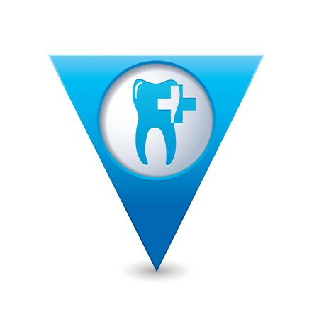 abstract family: Blue triangular map pointer with dental clinic icon  Vector illustration