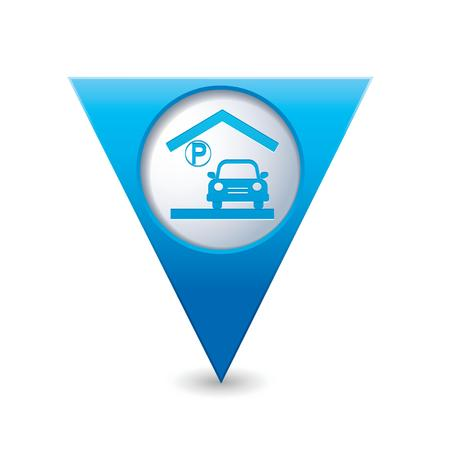 parking garage: Parking garage sign on blue triangular map pointer  Vector illustration