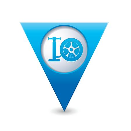 Car wheel and pump service icon on blue triangular map pointer  Vector illustration Vector