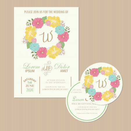 Set of wedding invitation cards  invitation, thank you card, RSVP card, reception, save the date card
