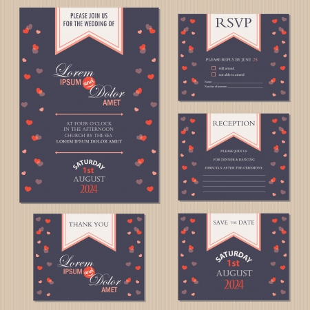 wedding reception: Set of wedding invitation cards with hearts  invitation, thank you card, RSVP card, reception, save the date