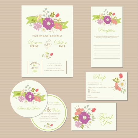 wedding reception: Set of wedding invitation cards  invitation, thank you card, RSVP card, reception, save the date card