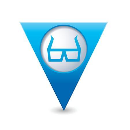 cinematografico: Puntero del mapa triangular azul con los vidrios 3D icono ilustraci�n