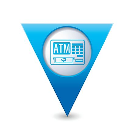 Blue triangular map pointer with ATM cash point icon illustration Vector