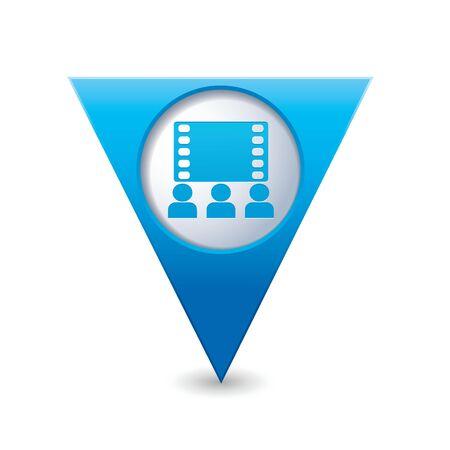 cinematografico: Puntero del mapa triangular azul con el icono del cine ilustraci�n