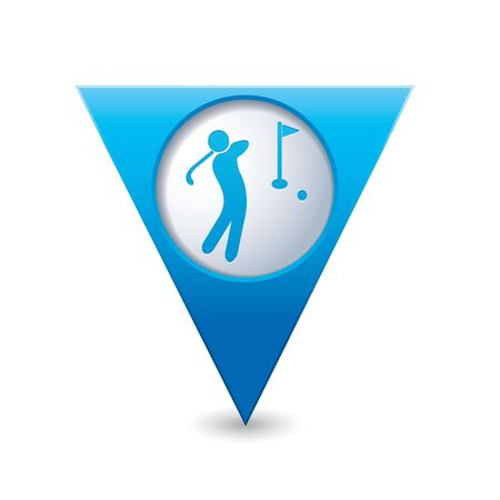 Blue triangular map pointer with golf icon illustration Vector