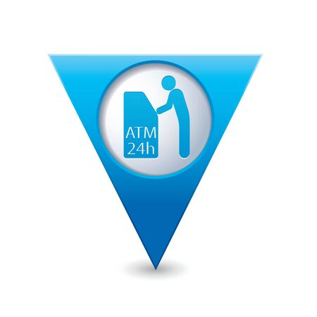 cashpoint: Blue triangular map pointer with ATM cashpoint icon illustration