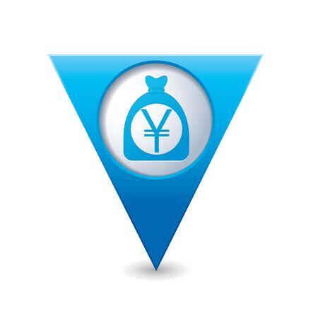 yen sign: Puntero del mapa triangular azul con signo de yenes en el mapa rojo puntero ilustraci�n