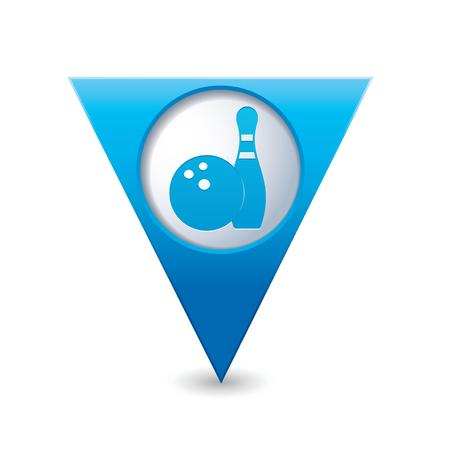 map pointer: Blue triangular map pointer with bowling icon illustration Illustration