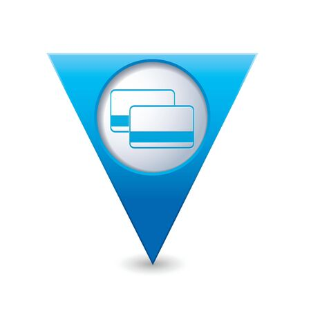 financial position: Blue triangular map pointer with bank credit cards sign illustration Illustration