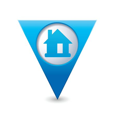 Blue triangular map pointer with home icon illustration Vector