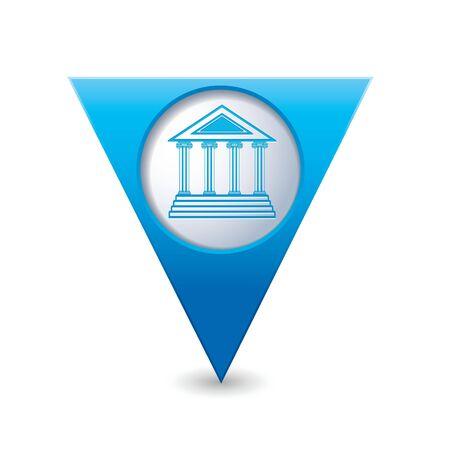 triangular shape: Blue triangular map pointer with museum icon illustration