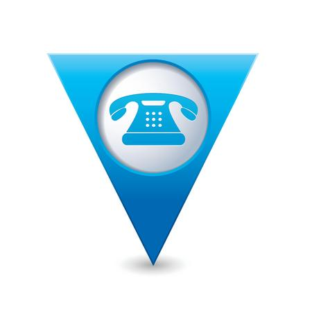 map pointer: Blue triangular map pointer with telephone icon illustration
