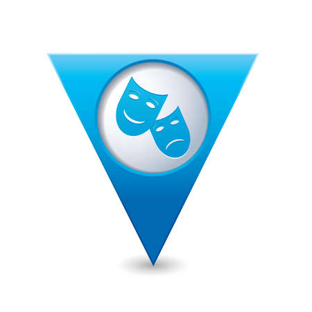 Blue triangular map pointer with theater icon illustration Vector