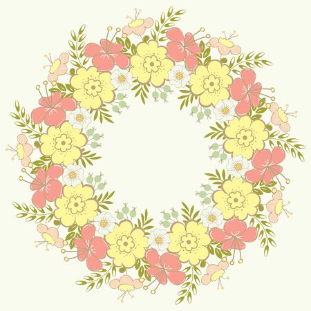 Cute floral wreath Vector