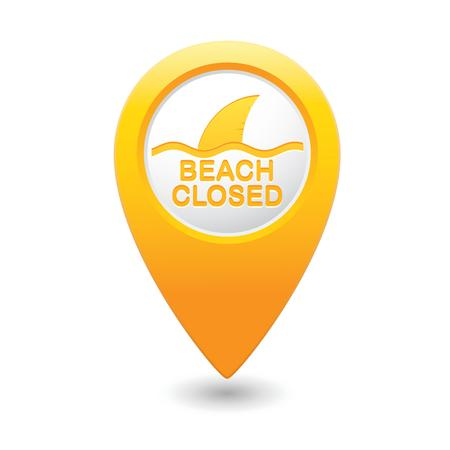 Beach Closed, shark sighting sign on map pointer Vector