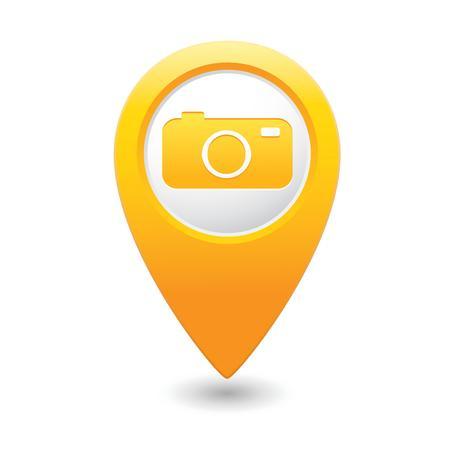 カメラのアイコンを持つマップ ポインター