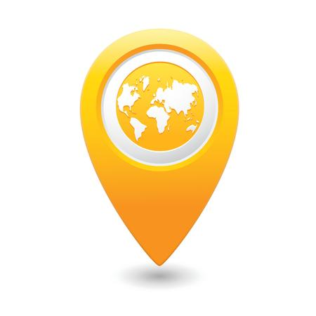 excursions: Map pointer with earth globe icon  Illustration