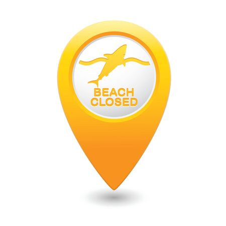 sighting: Beach Closed, shark sighting sign on map pointer