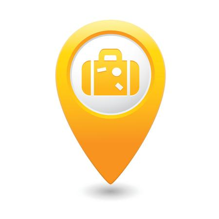 briefcase icon: Map pointer with suitcase icon  Illustration