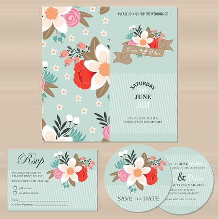 wedding reception: Set of wedding invitation cards or announcements with beautiful flowers  invitation, save the date card, RSVP card