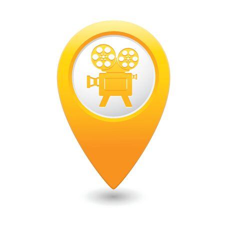 cinematografico: Los marcadores del mapa con el icono del cine