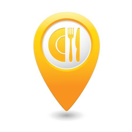 Puntero del mapa, con restaurante icono Foto de archivo - 26705999