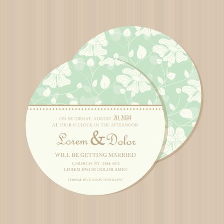 Round, double-sided floral wedding invitation or announcement card  Vector