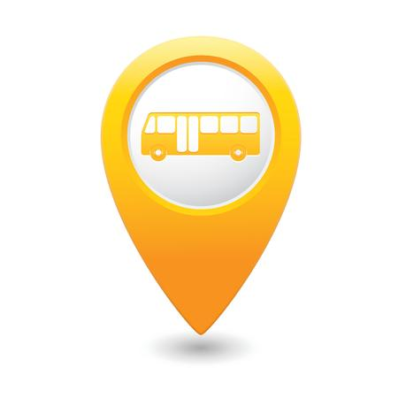 Map pointer with bus icon   illustration Vector