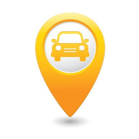 Map pointer with car icon  illustration Illustration