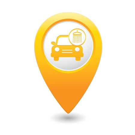 Car wash icon on yellow map pointer  illustration Vector