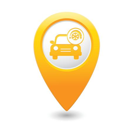 yellow car: Car service  Car with air conditioner icon on yellow map pointer  illustration Illustration
