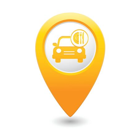 Car with meal icon on yellow map pointer  illustration Vector