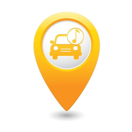 Car service  Car with music icon on yellow map pointer   illustration