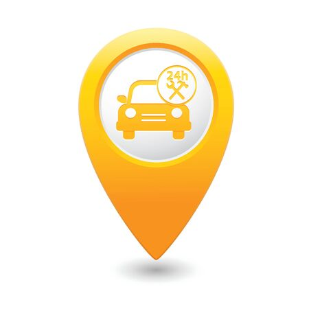 Car service  Car with tools icon on yellow map pointer  illustration Vector