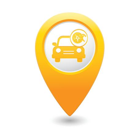 Car service  Car with wheel and tools icon on yellow map pointer  illustration Vector