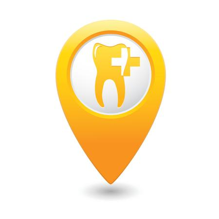 Dental clinic icon on yellow map pointer  illustration Vector