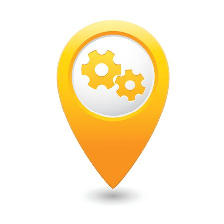 Map pointer with gear icon  illustration Vector