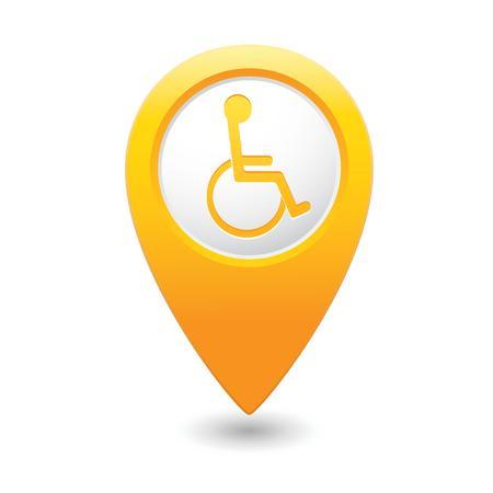 handicap: Map pointer with handicap icon  illustration