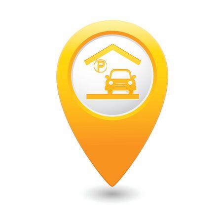 Parking garage sign on map pointer illustration Vector