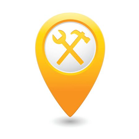 Map pointer with tools icon  illustration Vector