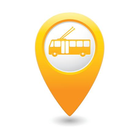 trolleybus: Map pointer with trolleybus icon  illustration