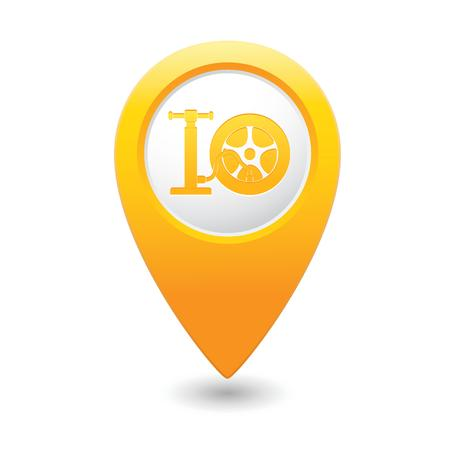Car wheel and pump service icon on map pointer Vector