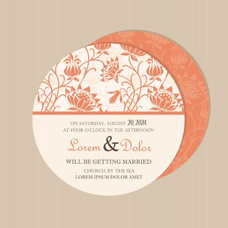 Beautiful round, double-sided vintage wedding invitation card with roses  Vector illustration Vector
