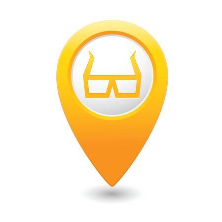 cinematografico: Los marcadores del mapa con los vidrios 3D icono ilustraci�n vectorial